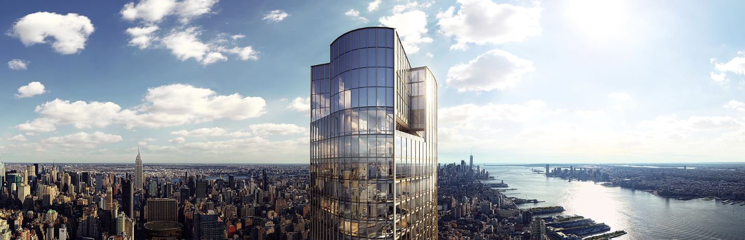 Exterior skyline view of 35 Hudson Yards condominiums in New York City. Includes view of river and NYC during the day.