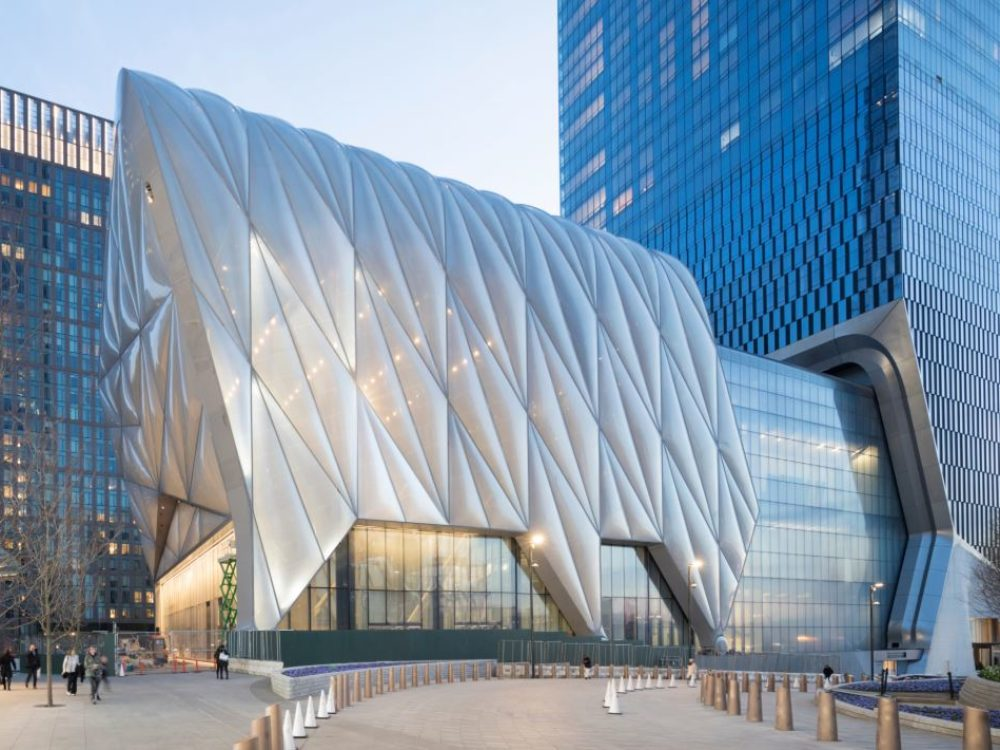 View of 15 Hudson Yards condominiums shed in New York City. Includes detailed architecture of the white shed at night.