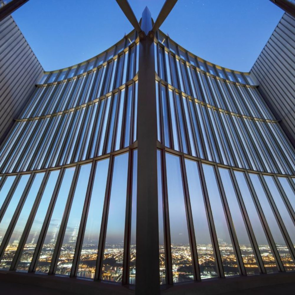 View of sky top at 15 Hudson Yards condominiums in New York City. Includes open ceiling and gated barrier.
