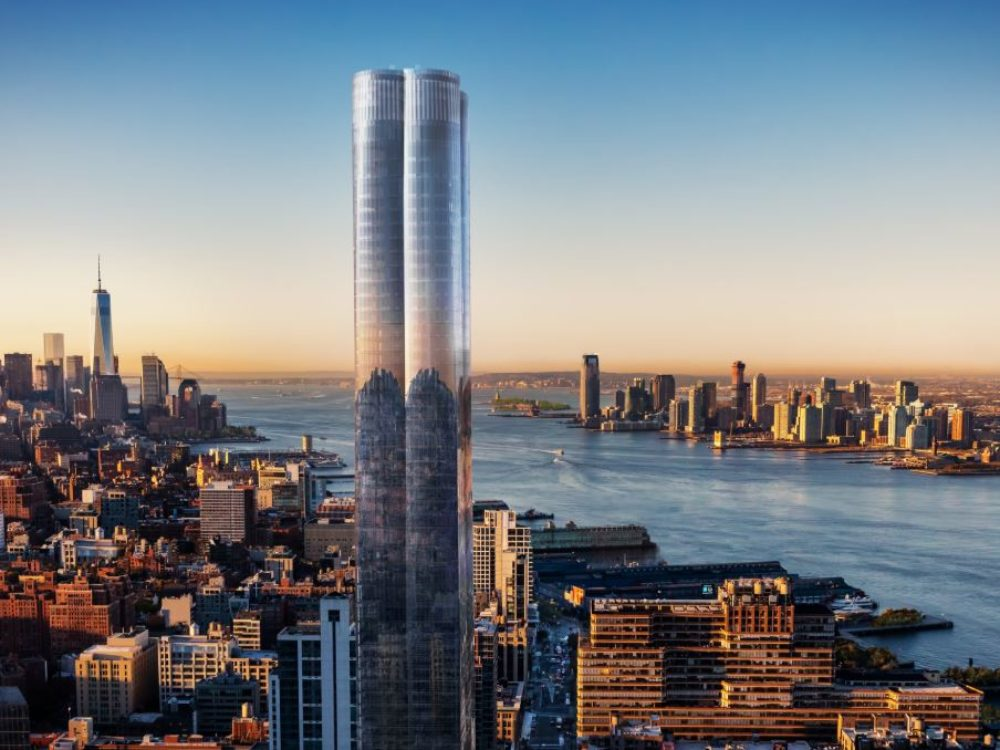 Exterior aerial view of New York City with 15 Hudson Yards condominiums in the center. Includes view of river and buildings.