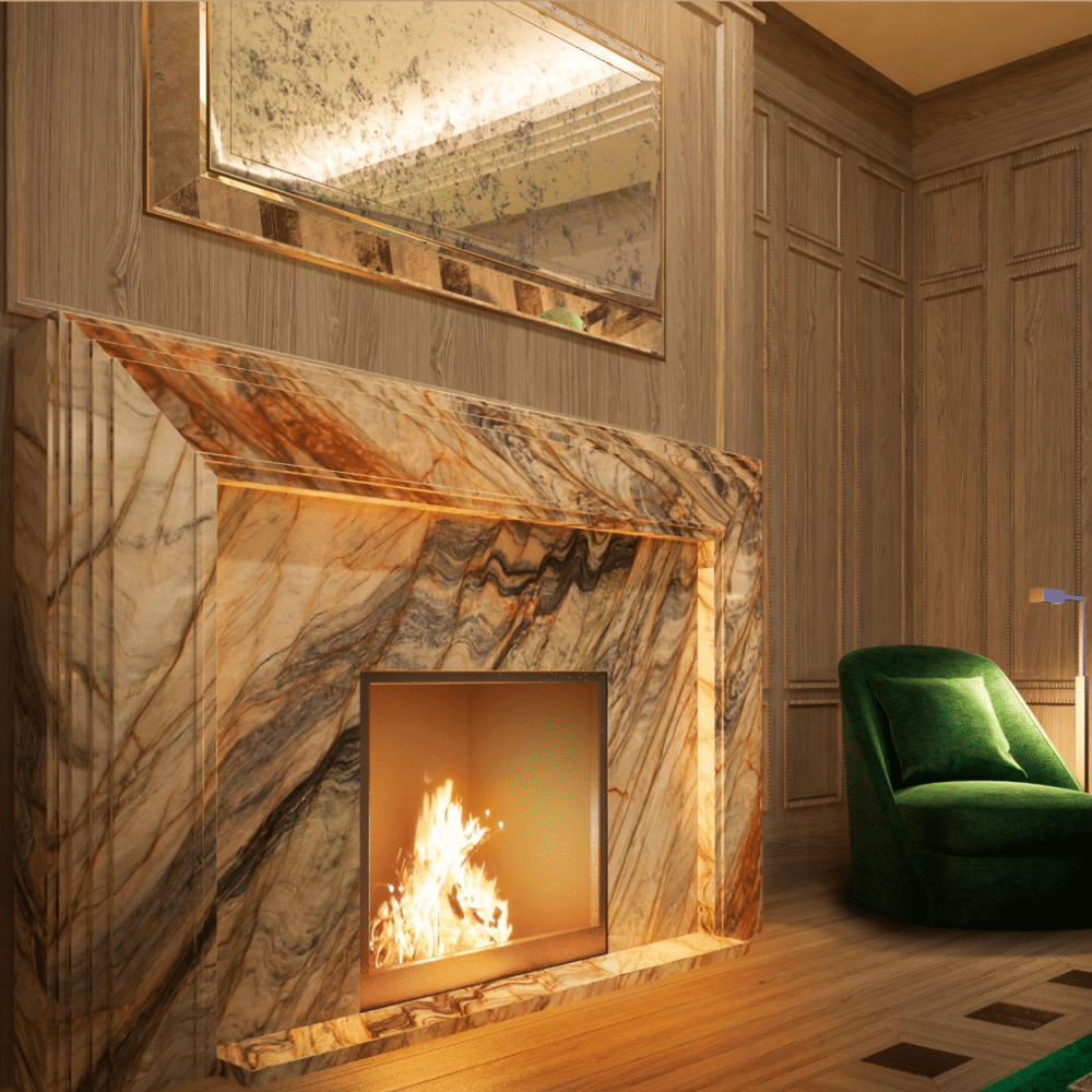 1010 Park Avenue NYC drawing room appointed with decorative marble fireplace, wood wall paneling, and timber oak skirting.