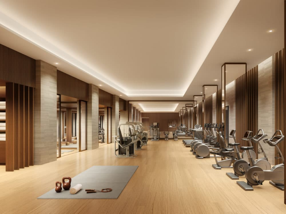Fitness center in 108 Leonard with cardio and conditioning equipment includes private training rooms in New York City.