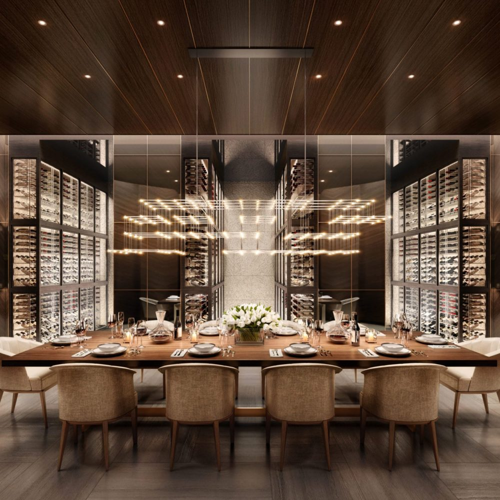 Private dining room with a wine cellar including dark brown walls and dark furniture in 108 Leonard in New York City.