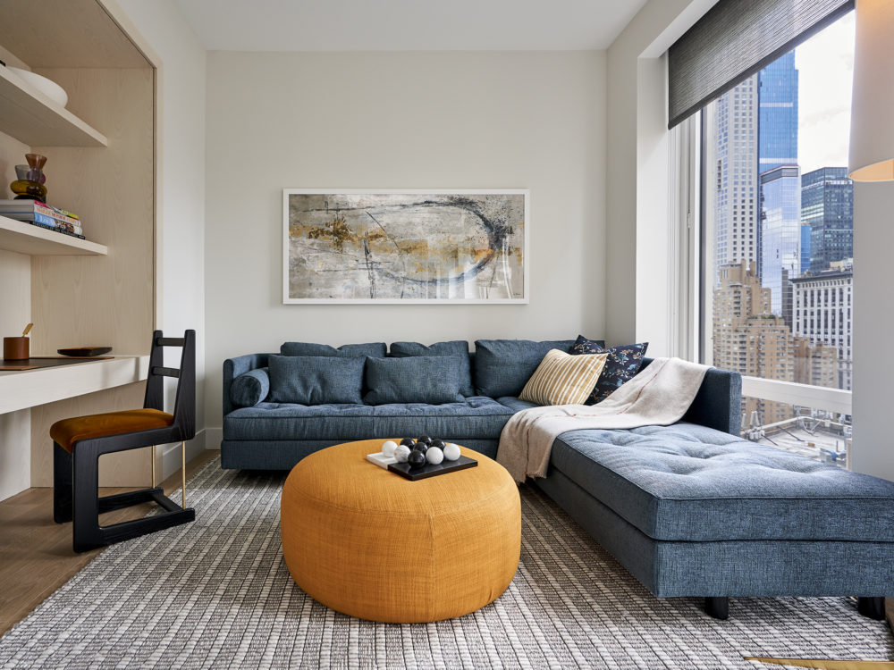 Living room at the Park Loggia condos in New York.