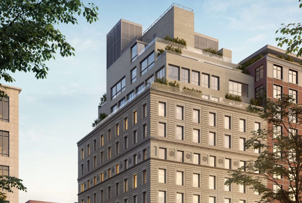 Exterior view of 67 Vestry condominiums in New York City. Has walkway entrance and surrounding trees.