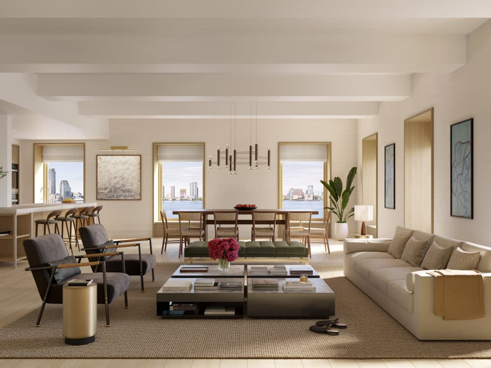 Interior view of 67 Vestry residence living and dining room with window view of New York City. Has full furniture.