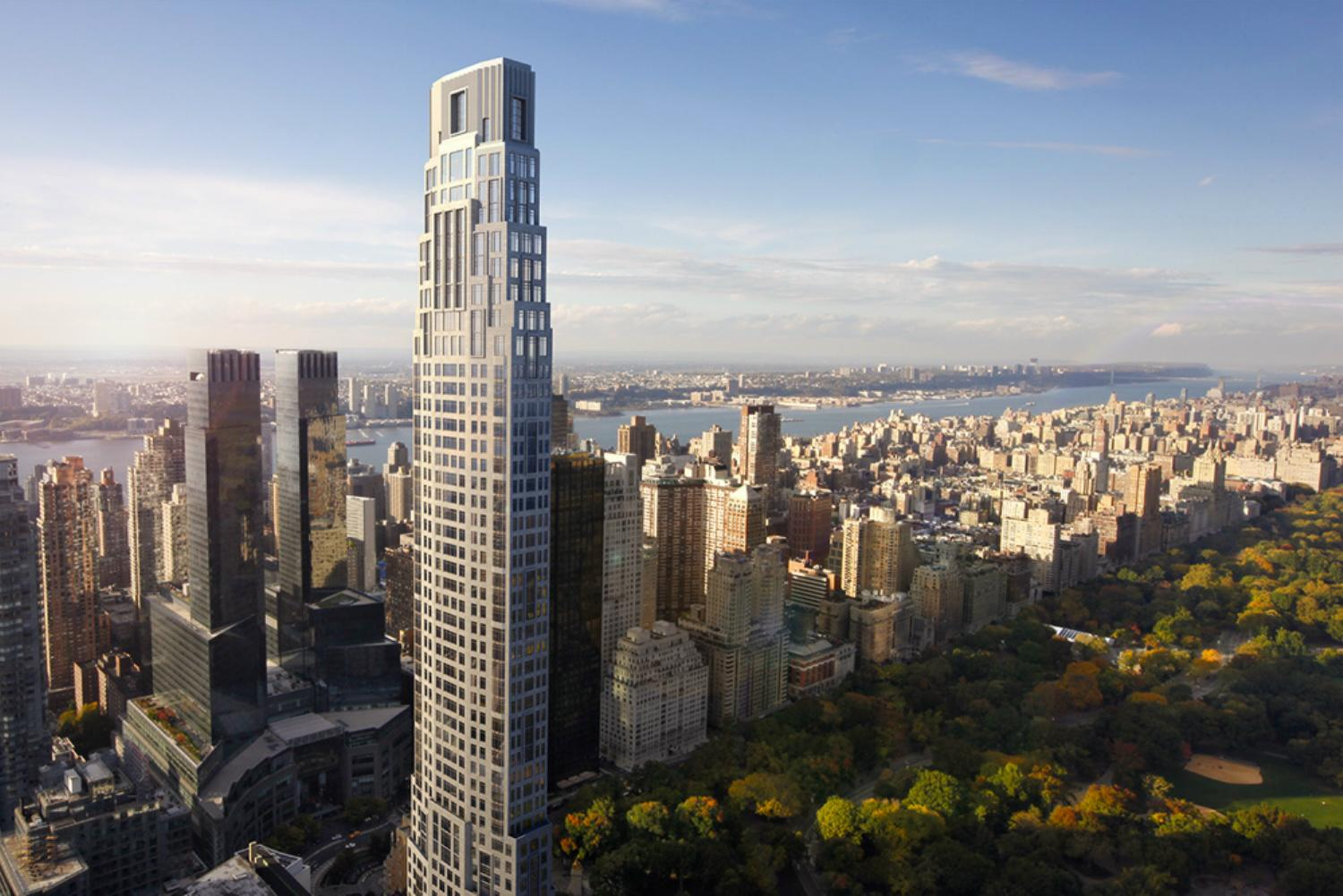 Birds eye view of 220 Central Park South luxury condos in NYC. Residential tower next to Central Park with city skyline.
