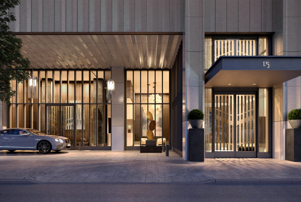 Street view of the Park Loggia luxury condos entrance in NYC. White building with tall windows and covered double doors.