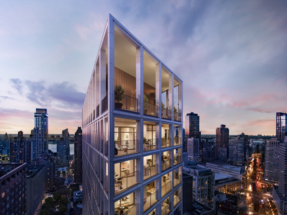 Rendering of the Park Loggia's penthouse and rooftop terrace in New York. Open air terrace with wrap around city views.