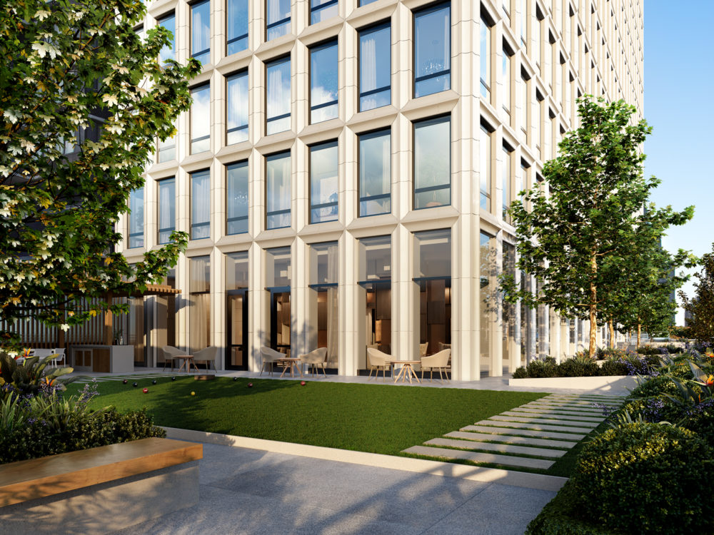 Street view of the Park Loggia condos in New York. High rise with white stone exterior, tall windows and surrounding trees.
