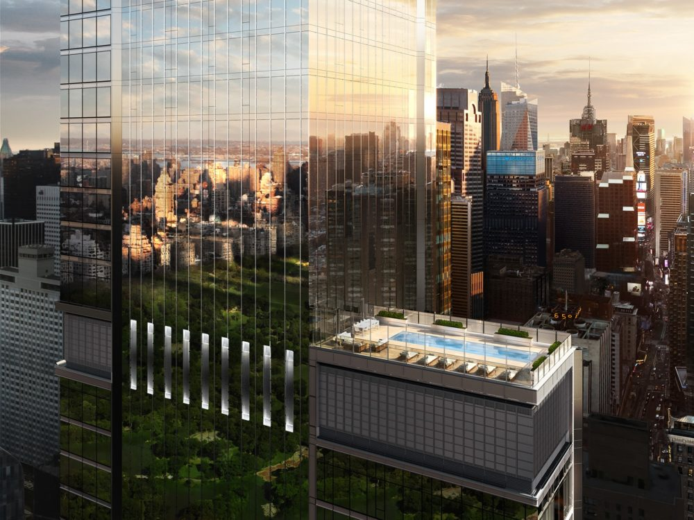 Upper view of Central Park Tower luxury condominiums and pool in NYC. Background of skyline and high rises in New York.