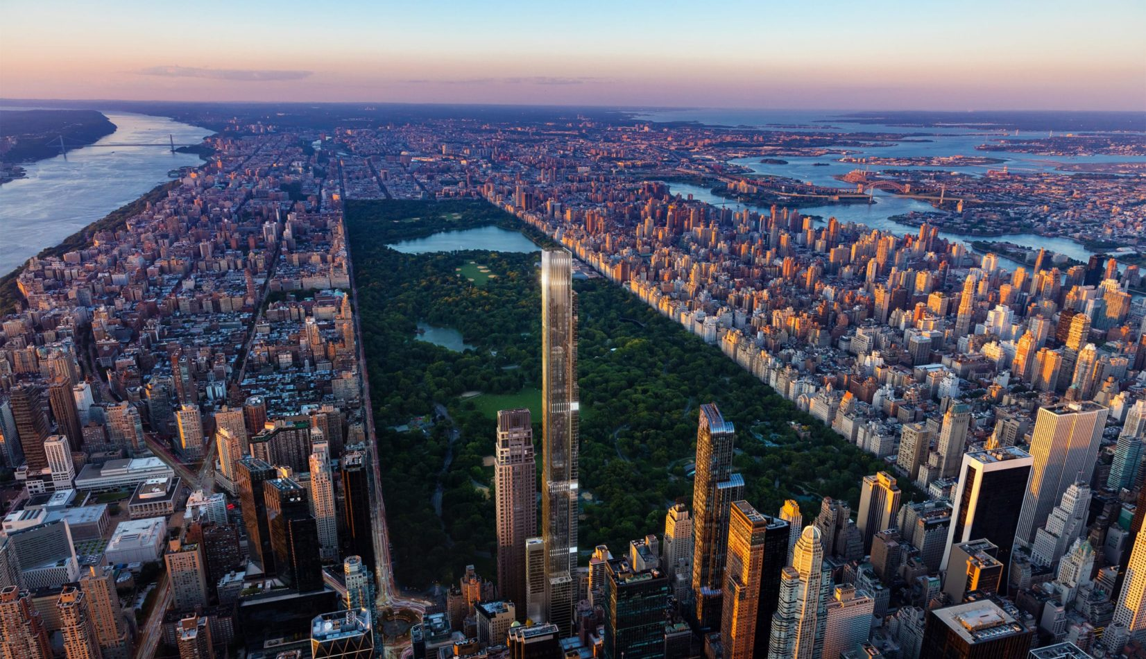 Exterior aerial view of Central Park Tower condominiums with New York City Surrounding central park.