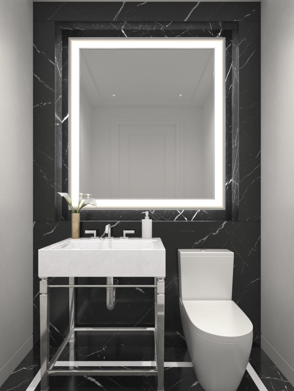 Powder room in The Belnord apartments in New York City. White sink and toilet with a large mirror and black floors and wall.