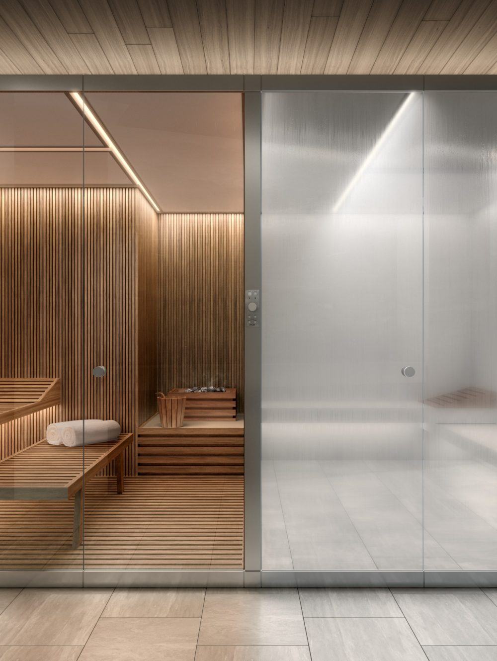 Sauna & steam rooms at The Xi luxury condos in NYC. Square room divided in half, one with wood benches and the other stone.