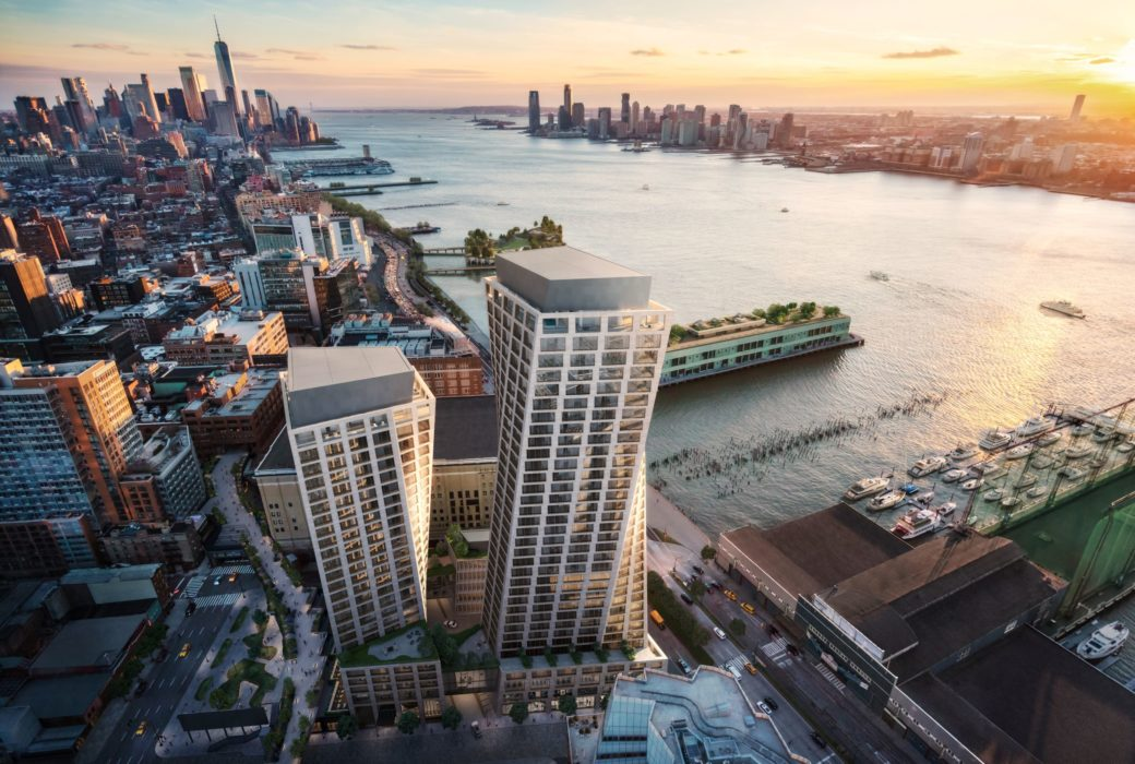 Aerial view of The Xi Condominiums in New York. Overlooking two towers & West Chelsea neighborhood next to the Hudson River.