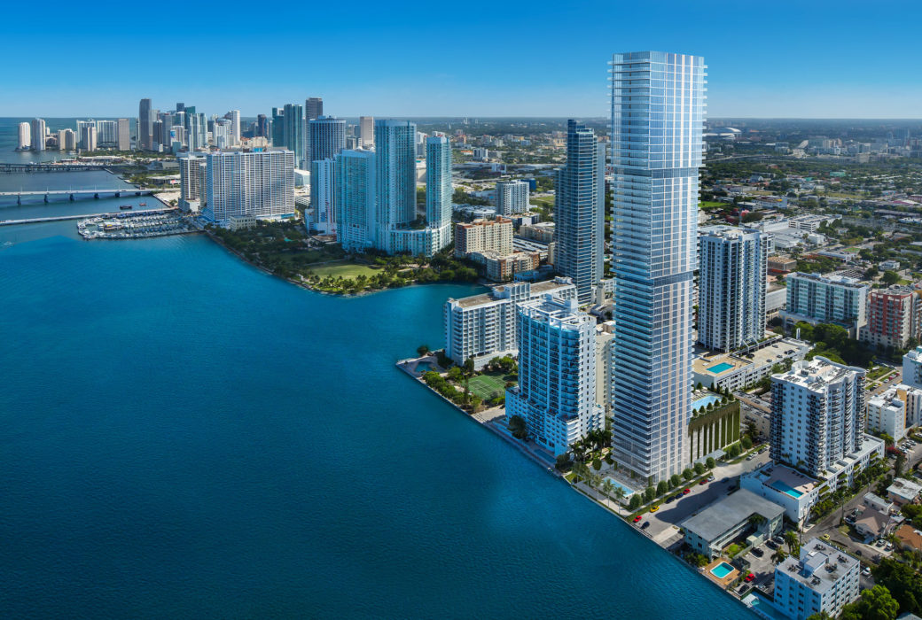 Exterior view of Elysee condominiums with view of Biscayne Bay. Has view of surrounding Miami buildings.