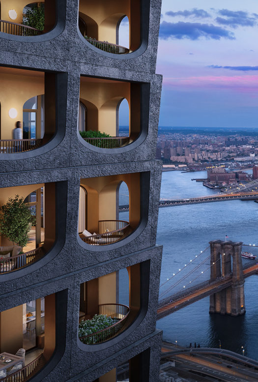 Close up exterior of 130 William condominiums in New York City. View of building windows, river and bridge during the sunset.