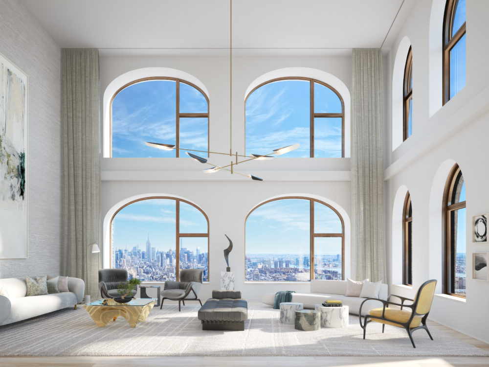 View of 130 William residence living room in New York City. Includes tall ceilings, white walls, and a window view of NYC.