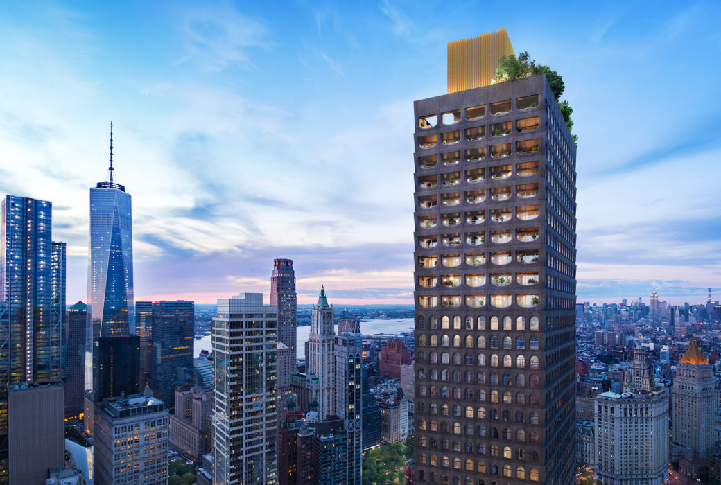 Exterior aerial view of 130 William condominiums in New York City. Includes surrounding buildings and daytime sky.