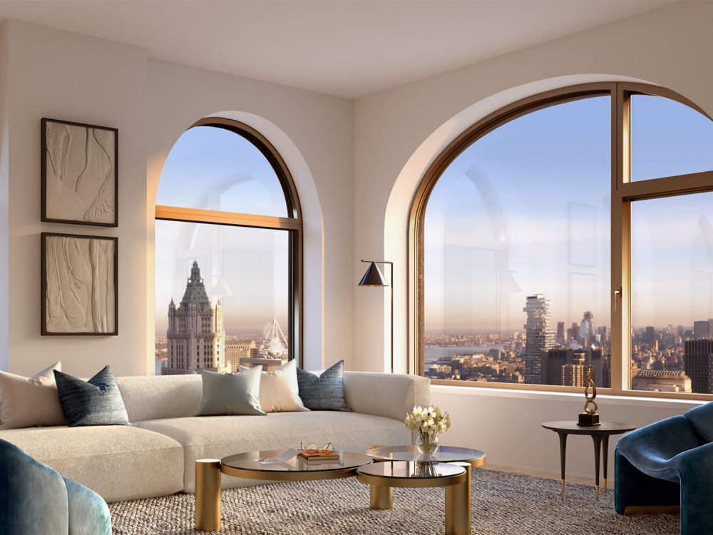 Interior view of 130 William residential living room in New York City. Includes window view of NYC and couches and chairs.
