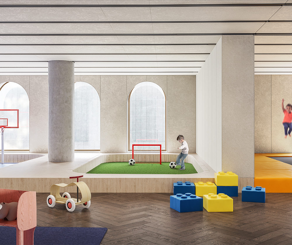 View of 130 William condominiums kids playroom in New York City. Includes arched white walls and colorful furniture and toys.