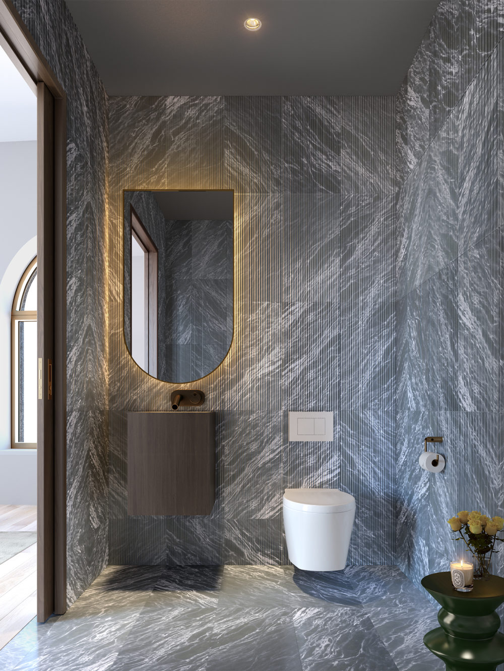 View of 130 William residence powder room in New York City. Includes marble floors and marble walls and glowing mirror.