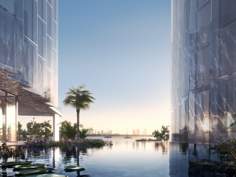 Exterior at Monad Terrace luxury condos in Miami. Private lagoon flowing between building wings with access to the bay.