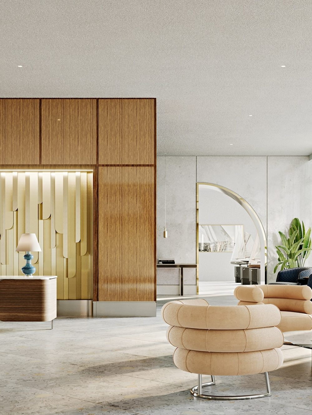 Interior lobby at Mr. C Residences in Miami. Condo complex reception area with seating along tall windows to right of room.