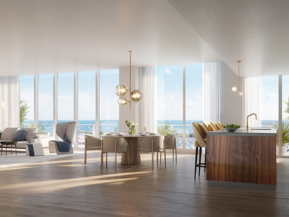 Condo interior at Mr. C Residences in Miami. Open concept with oak floors, natural wood accents and floor-to-ceiling windows.