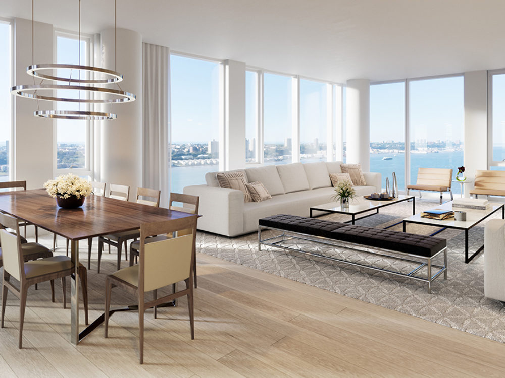 Living room in Waterline Square condos in NYC with a couch, two chairs and coffee tables, and floor-to-ceiling windows.
