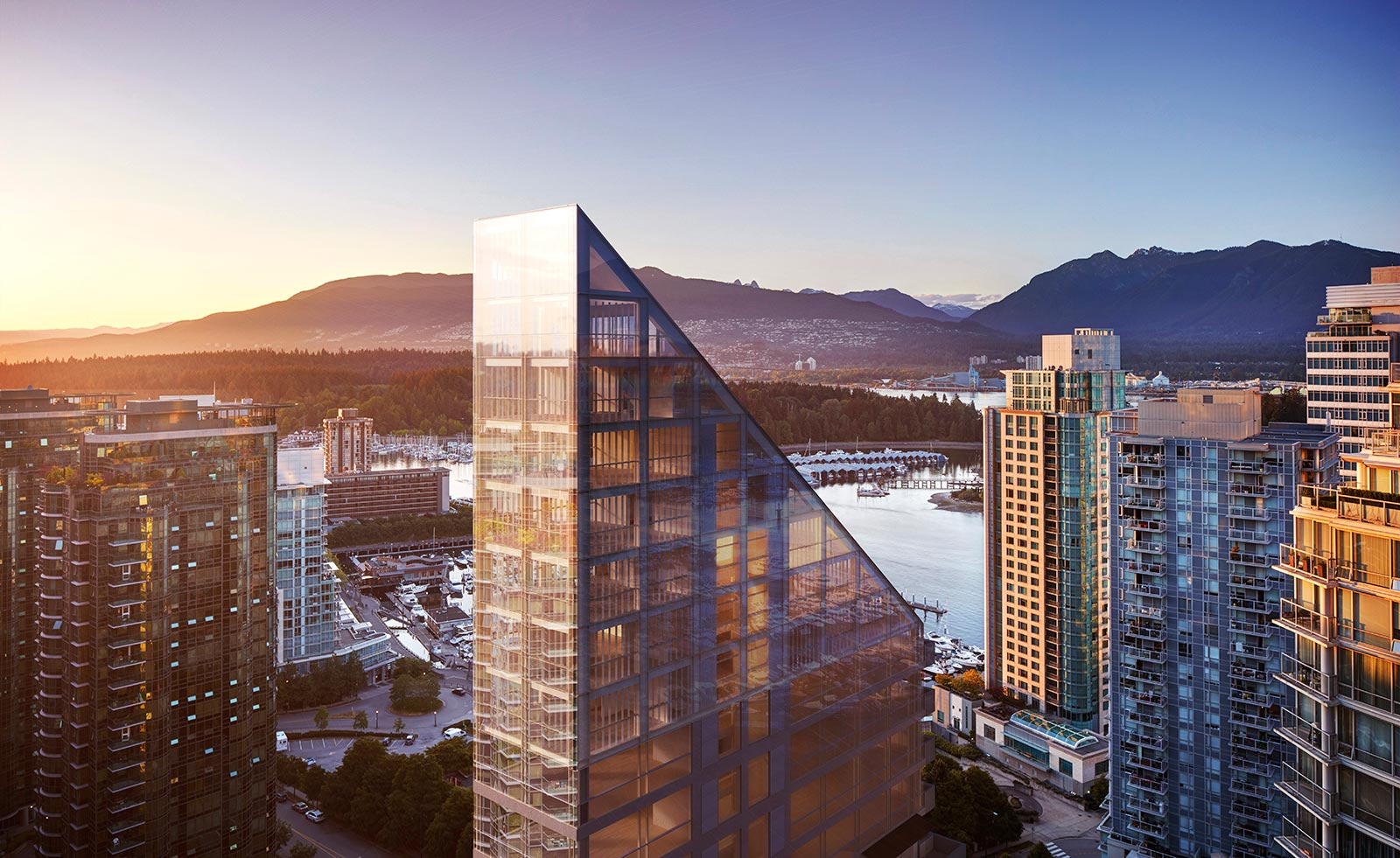 Birds eye view of Terrace House luxury condos in Vancouver, B.C.. City skyline and landscape during sunset.