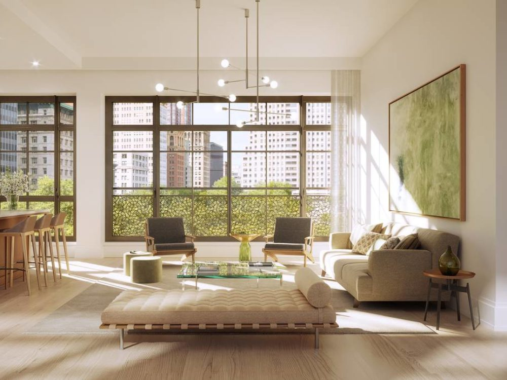 Interior view of living and dining room inside 25 Park Row condominiums. Includes window view of New York City and furniture.