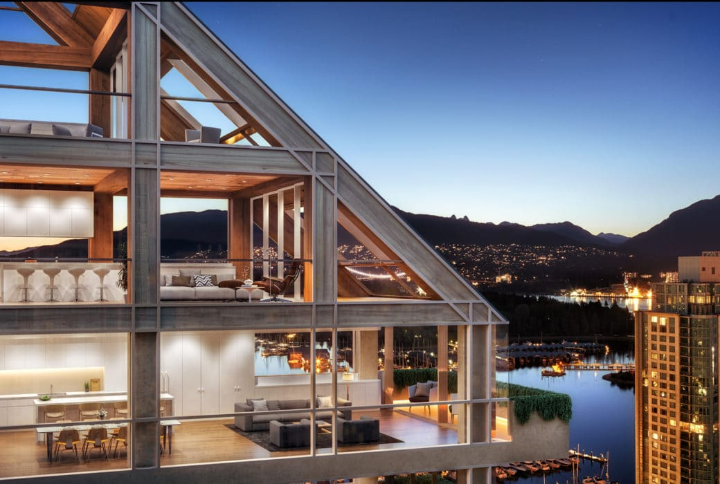 Birds eye look in at Terrace House luxury condos in Vancouver. Sky at sunset with buildings overlooking the harbour.