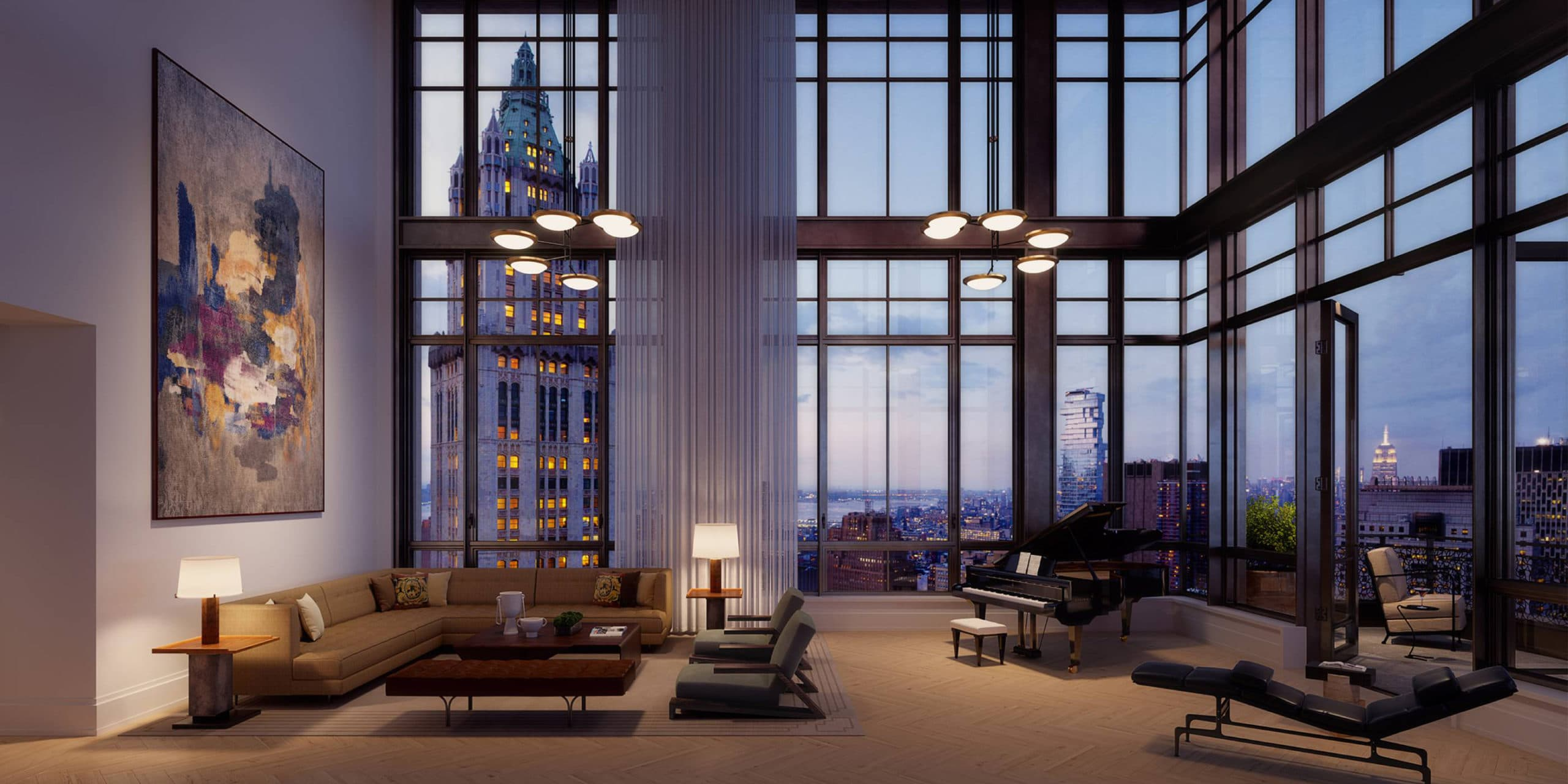 Penthouse at 25 Park Row luxury condos in NYC. High ceilings, floor-to-ceiling windows and living room with terrace access.