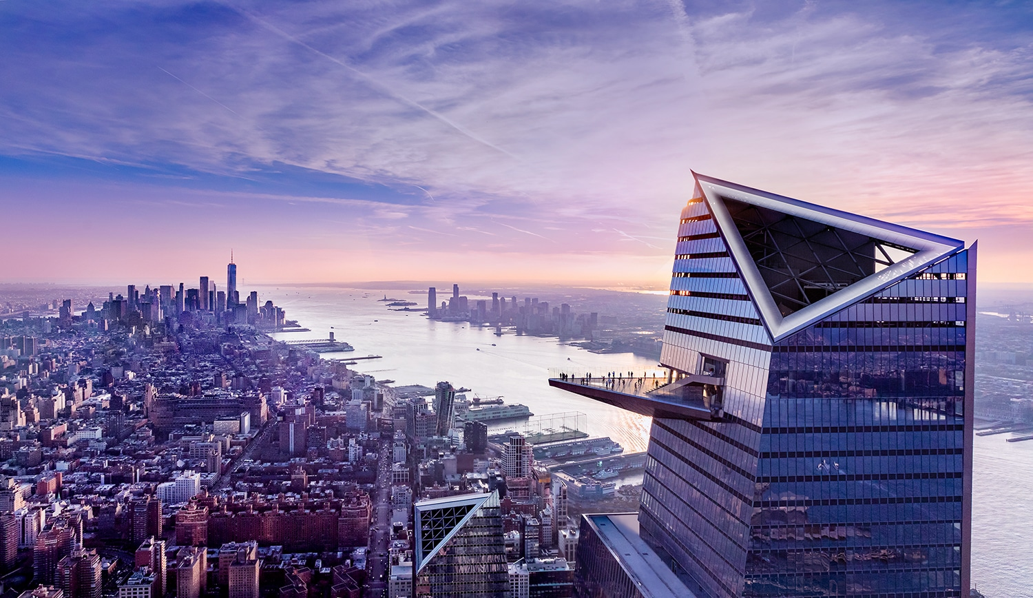 Aerial view of 30 Hudson Yards observation deck,