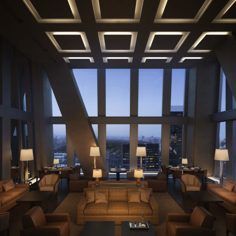 53 West 53 residence private dining room with window view of New York City. Has high ceilings and full furniture.