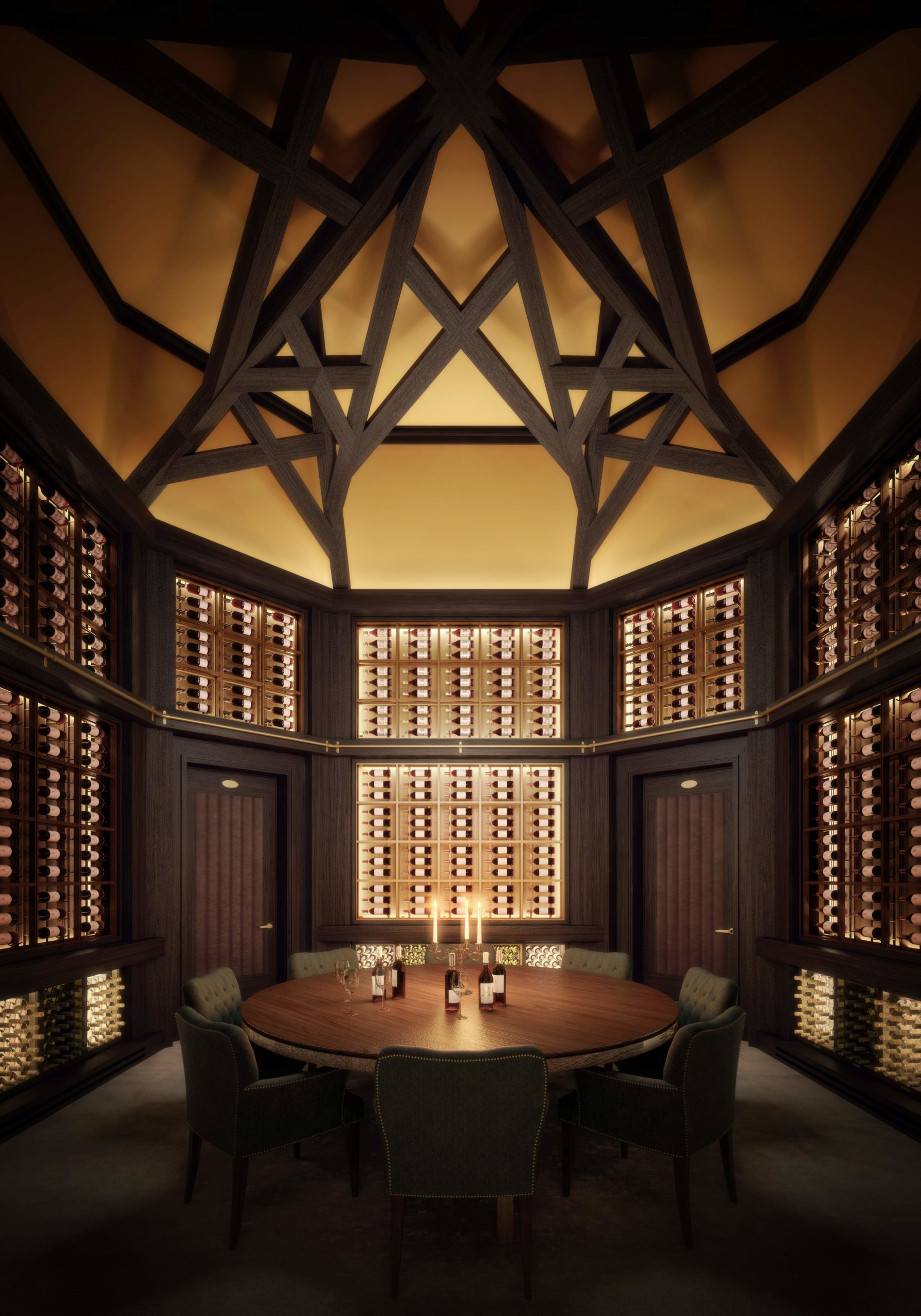 53 West 53 residence wine room located in New York City. Has a high hollow ceiling and dark accented furniture.