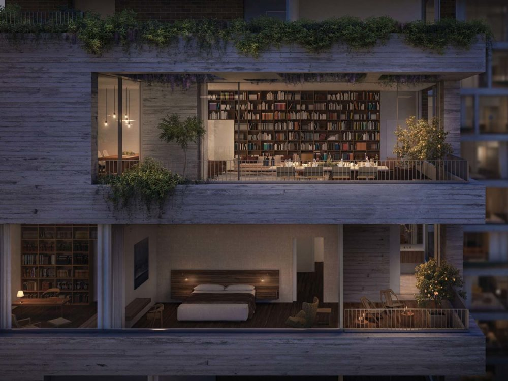 Elevated exterior view of Jardim Penthouse in New York. Large windows show inside a large bedroom, office, and dining room.