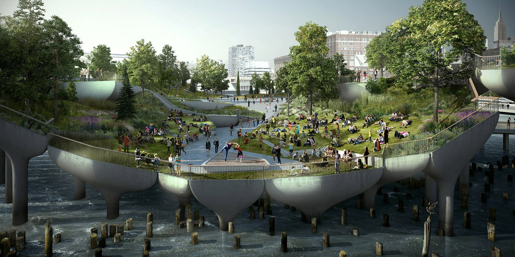 Rendering of Little Park along the Hudson River Park. A tiered park above the river with shrubbery and stone walkway.