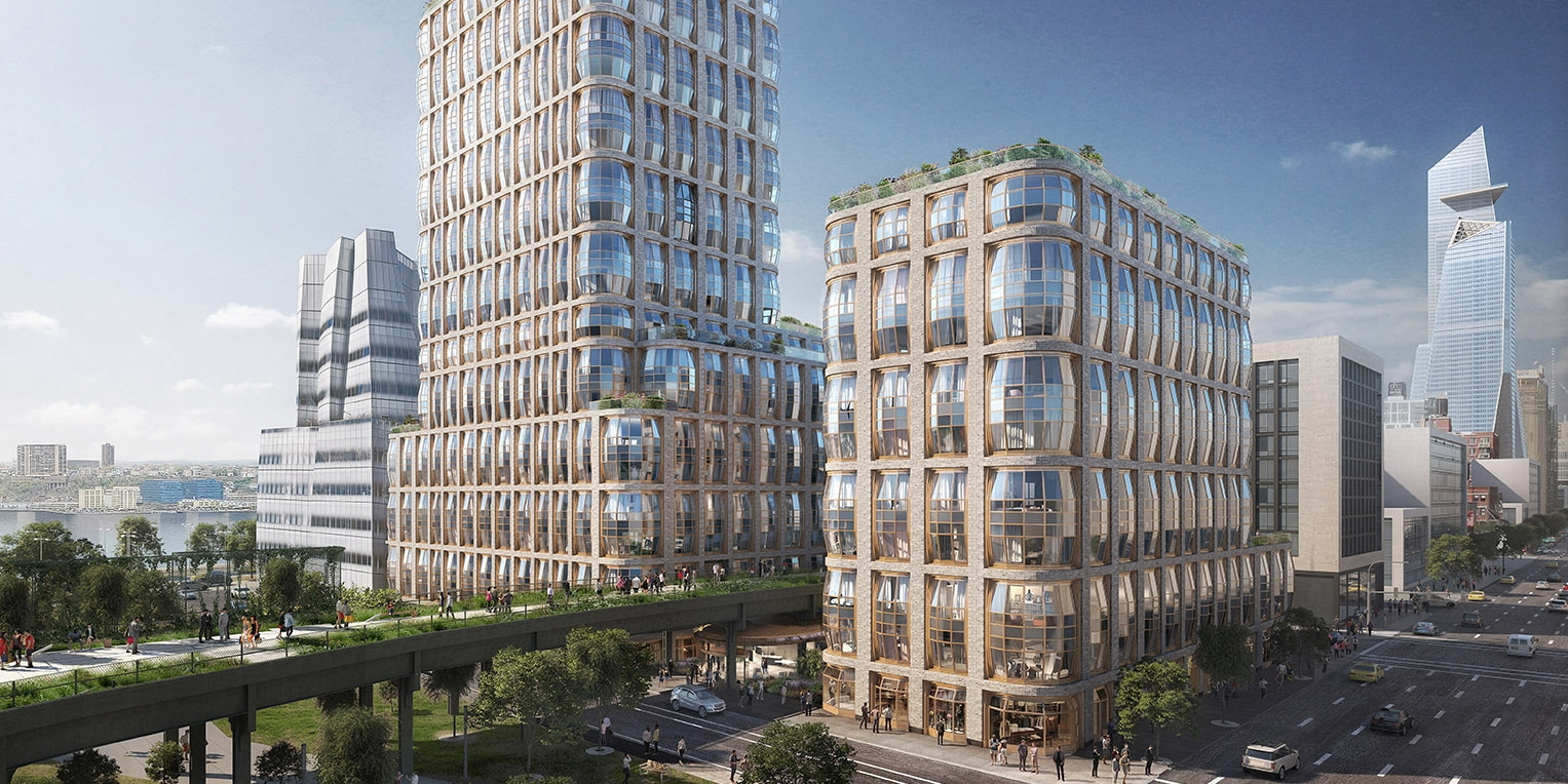 Exterior view of Lantern House condos in NYC. Elevated walkway travels between two towers with lantern-like bay windows.