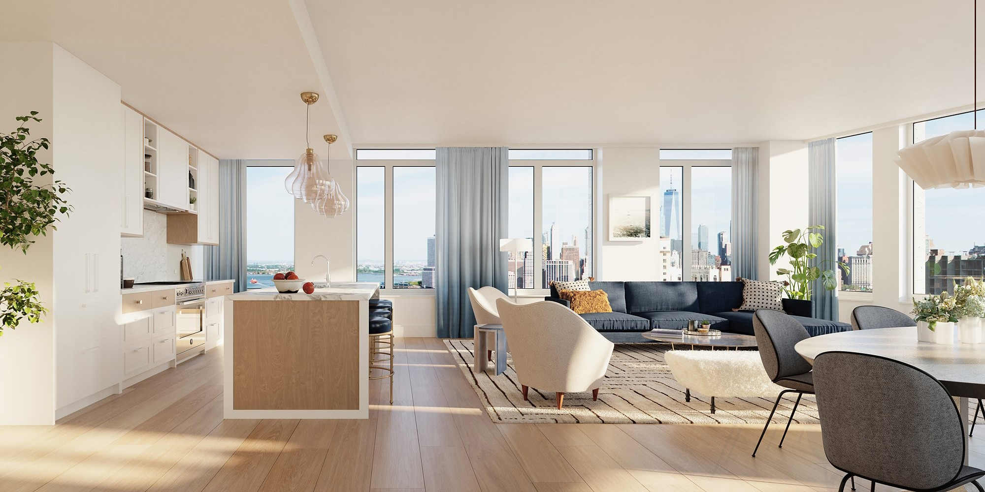 Interior of One Clinton condos in NYC. Open layout showing the kitchen and living room with white walls and tall windows.