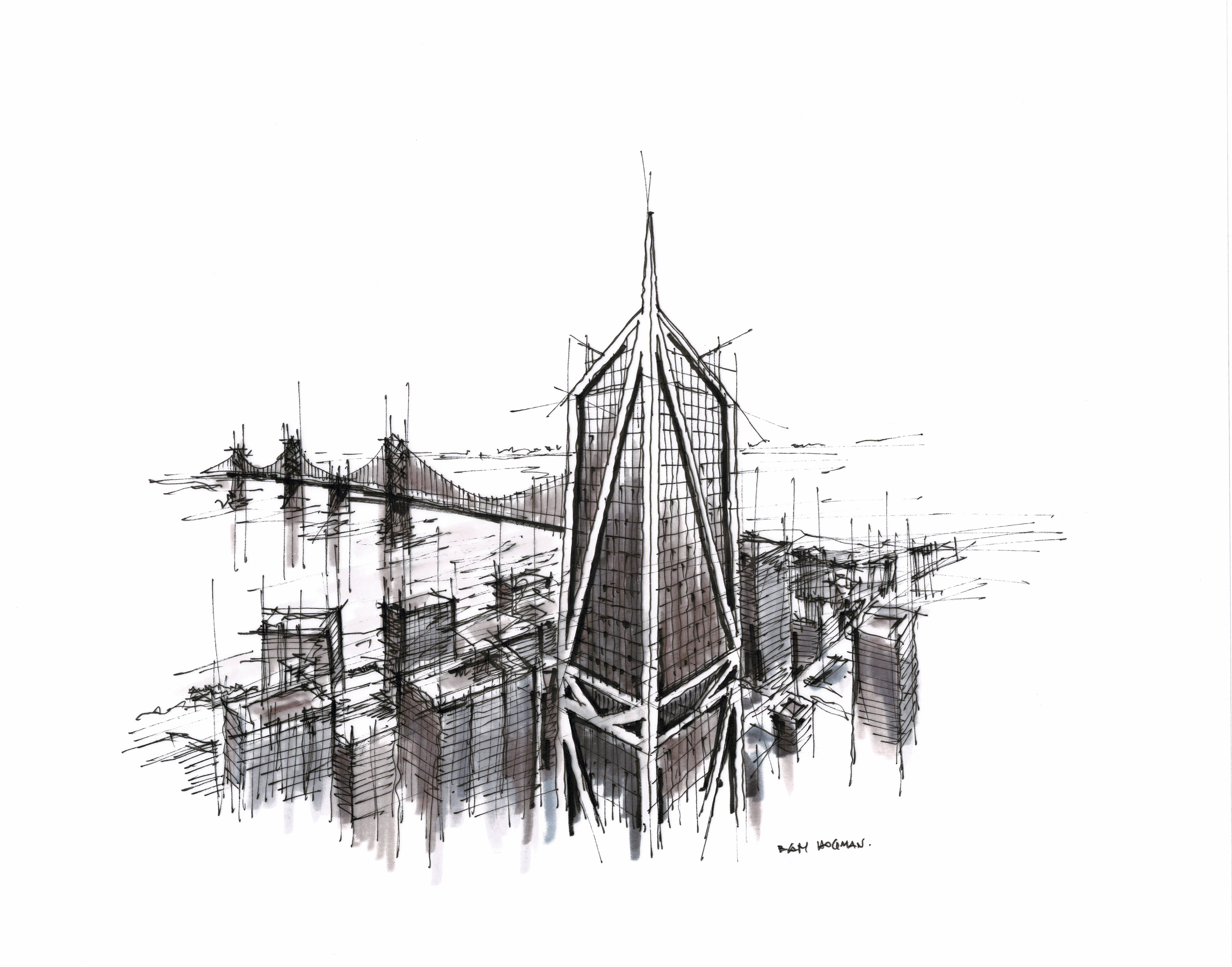 Black and white sketch of 181 Fremont by Dan Hogman. Aerial view of downtown San Francisco and The Golden Gate Bridge.