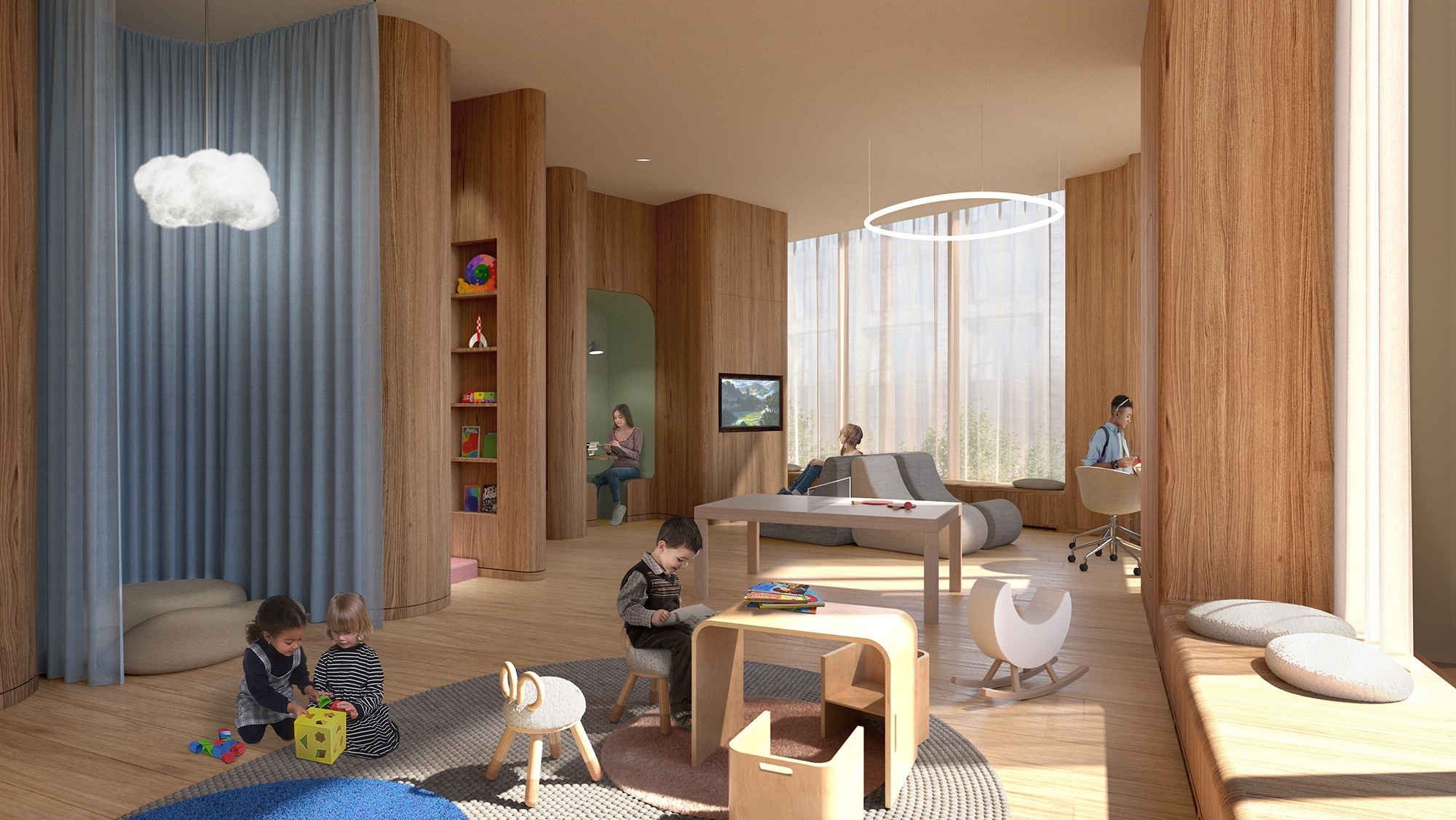 Playscape at The Xi luxury condominiums in New York. Tv area with a couch, quiet space with cushion and long drapes.