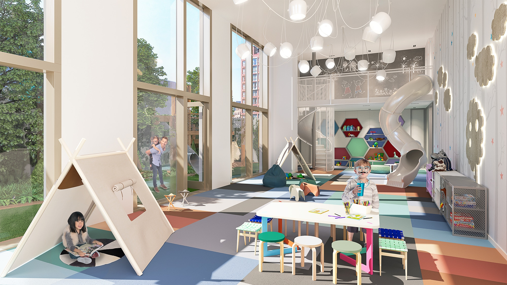 Indoor playroom at Brooklyn Point condos in NYC. Large windows, carpeted floor, toys, tents and a large built-in slide.