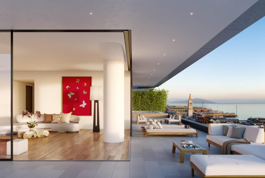 Exterior of condo at One Steuart Lane in San Francisco. View inside condo from wrap around patio with views of the Bay.