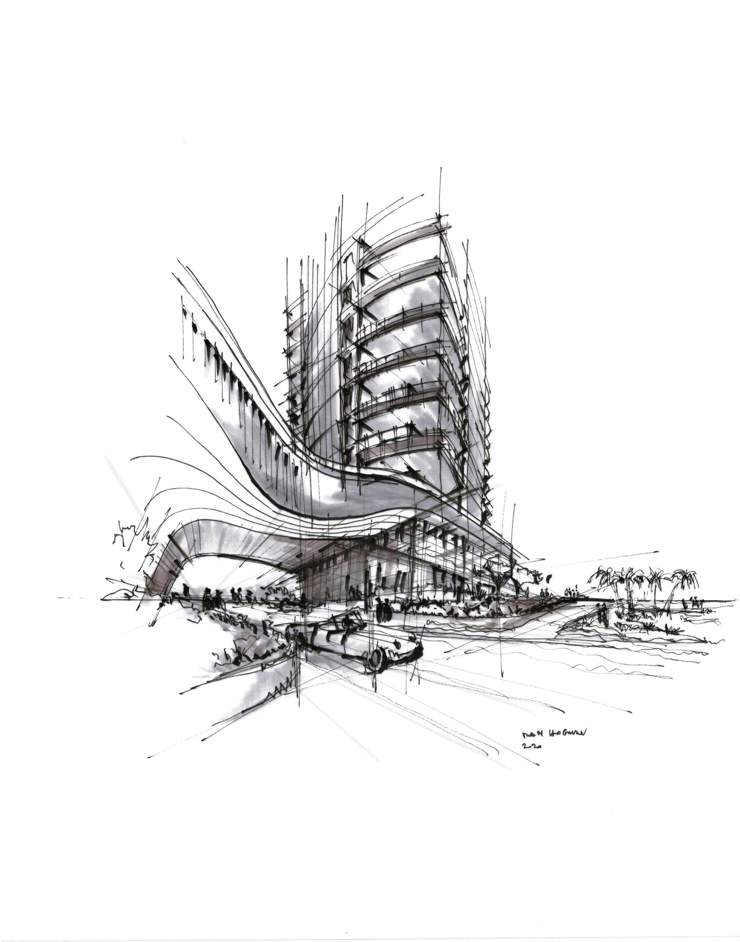 Ground view of Una Residences in Miami. Black and white sketch of luxury condominium complex in Brickell by Dan Hogman.