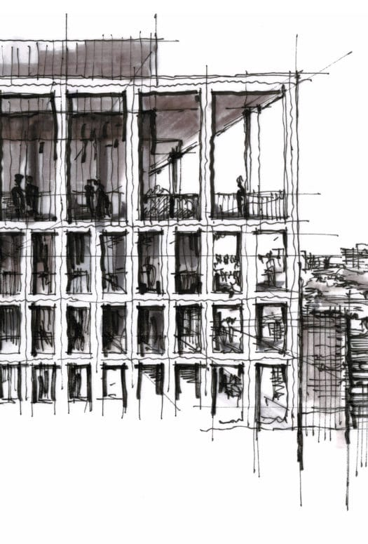 Three black and white building sketches by Dan Hogman. Each sketch shows a different perspective and section of the building.