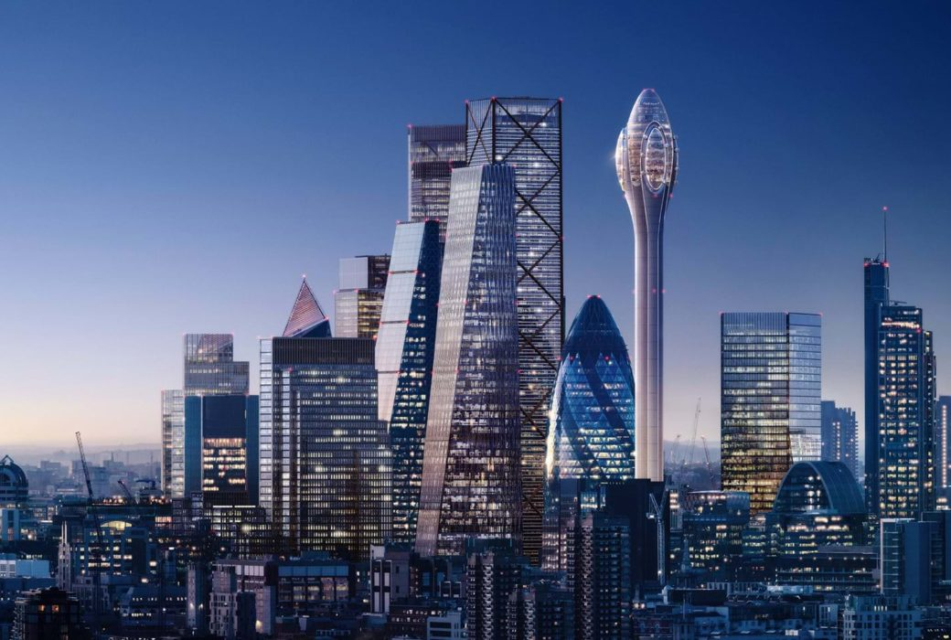 Rendering of The Tulip Tower in London, England. Skyline picture at dusk with The Tulip Tower as the focal point.