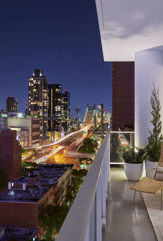 Terrace view from 200 E 59th luxury condos in New York City. Wrap around terrace with unobstructed views of the city.