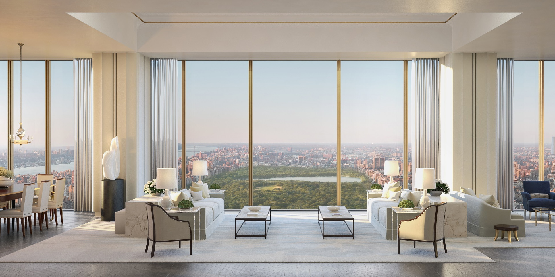 Penthouse living room at 111 West 57th St luxury condos in New York. Floor-to-ceiling windows with views of Central Park.